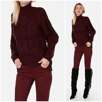 Nwt Express Womens Size Xs Mock Neck Oversized Tunic Pullover Sweater Burgundy Photo