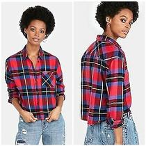Nwt Express Womens Size Xs Soft Flannel Plaid Long Sleeve Cropped Shirt Red 60  Photo