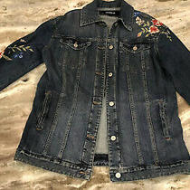 Nwt Express Xs Womens Jean Jacket Denim Trucker Floral Embroidered Button Down Photo