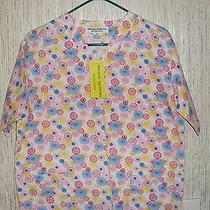 Nwt Extra Small Natural Uniforms Scrub Top 2 Patch Pockets v-Neck Bright Colors Photo