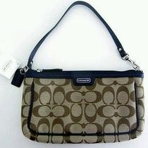 Nwt  F51661 Coach Campbell Khaki/indigo Wristlet  Gift Receipt  3 Free Gifts Photo