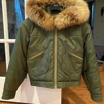 Nwt Fendi 3990 100% Authentic Women Down Jacket Coat Hood Fur Khaki Green Sz 38 Photo