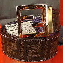Nwt Fendi Zucca Ff Two Tone Leather Gold Logo Buckle Reversible Belt 85 34     Photo