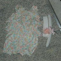 Nwt - First Moments White Aqua & Peach Flowered & Ruffled Outfit - 9 Mos Girls Photo