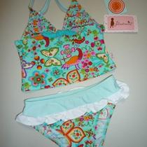 Nwt Floatimini Girls 2 Pcs Swimsuit  Aqua   Size 4 Photo