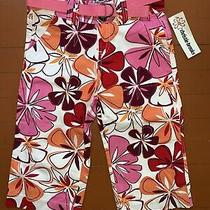 Nwt Floral Christie Brooks Girls Pants Size 8 Pink Orange Red W/belt Cropped Photo