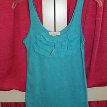 Nwt Forever 21 Aqua Turquoise Blue Ruffle Sheer Tank Top Shirt Sz S Wc- Photo