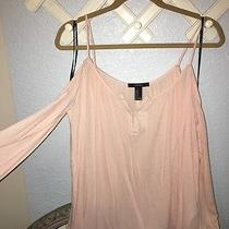 Nwt Forever 21 Bare Open Shoulder Long Sleeve Top Blouse Shirt Blush Medium Photo