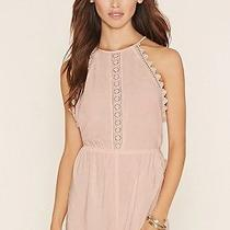 Nwt Forever 21 Crochet Trim Cami Playsuit/jumpsuit/romper Peach/pink Blush Small Photo