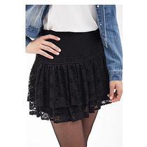 Nwt Forever 21 - Fluted Lace Mini Skirt Black Xs Photo