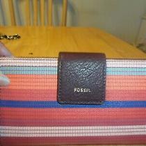 Nwt Fosill Womens Logan Stripe Tab Leather Clutch Wallet Photo