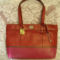 Nwt Fossil 168 Leather Hunter Red &  Pink Bag Shopper Tote Photo