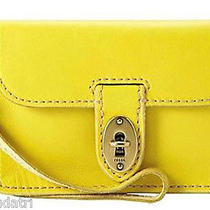 Nwt Fossil Austin Iphone Wristlet - Citrus Yellow Sl3931  Leather -Fits 4 & 5 Photo