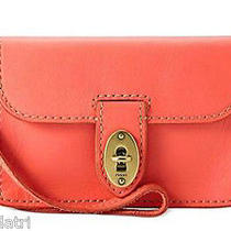 Nwt Fossil Austin Iphone Wristlet - Hot Coral Sl3931 New  Leather -Fits 4 & 5 Photo