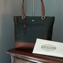 Nwt Fossil Black & Cognac Outpost Large Shopper Tote 188 Photo