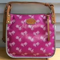 Nwt Fossil Brand Keyper Crossbody Orchid Purse Bag Bike Pattern Shb1028533 New Photo
