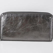 Nwt Fossil Brand Macy Silver Metallic Leather Zip Around Clutch Wallet  Photo
