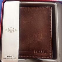 Nwt Fossil Brenner Men's Trifold Brown Leather Wallet Antique Style in Red Box Photo
