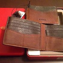 Nwt Fossil Brown Austin Genuine Leather Bifold Wallet & Card Case Photo
