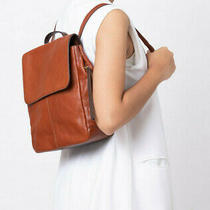 Nwt Fossil Claire Brandy Leather Backpack Shb1932213 Brown 178 Brass Hardware Photo