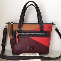 Nwt Fossil Dawson Satchel Red Multi Brown Burgundy Wine Luggage Leather 228 Photo
