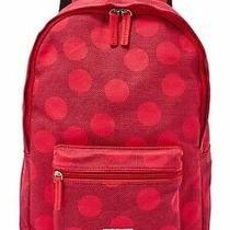 Nwt Fossil Ella Canvas Laptop Backpack Red Black Polka Dots Book Bag Photo