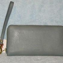 Nwt Fossil Emma Blue Rfid Phone Zip Leather Wallet Wristlet Clutch Organizer  Photo