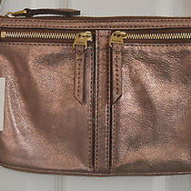 Nwt Fossil Erin Small Top Zip Copper/rose Gold Leather Crossbody Shoulder Bag  Photo