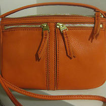 Nwt Fossil Erin Small Top Zip Crossbody Bright Orange Leather Zb5430820 Dust Bag Photo