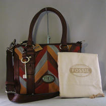 Nwt Fossil Espresso Chevron Patchwork Maddox Satchel Crossbody Bag Purse Tote Photo