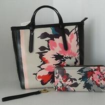Nwt Fossil Floral Handbag Backpack Purse With Matching Wallet Photo