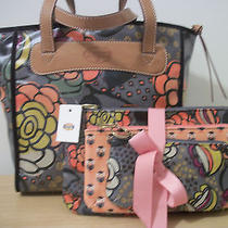 Nwt Fossil Floral Keyper Shopper &  Triple Pouch Set  Gift Receipt Photo