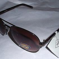 Nwt Fossil Fw12 Aviator Sunglasses Women's Logo Bronze/browdfn Pouch Photo