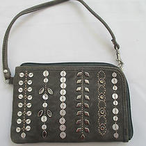 Nwt Fossil Genuine Leather Gray Embellished Cell Phone Wristlet Wallet  Photo
