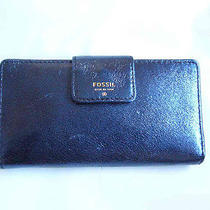 Nwt Fossil Gift Navy Glitter Leather Tabbed Clutch Purse Photo