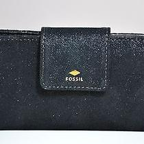 Nwt Fossil Gift Tab Clutch Black Shimmer Suede Wallet Sl6814001 Photo