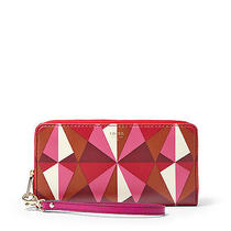 Nwt Fossil Giftable Triangle Zip Clutch Wallet Red Multi Sl4893995 Photo