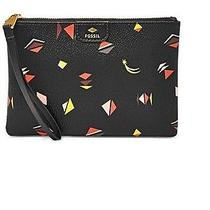 Nwt Fossil Gifting Printed Wristlet - Black With Bright Colored Geometrics Photo