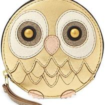 Nwt Fossil Gold Metallic Leather Owl Bird Zip Coin Purse Photo