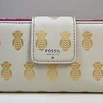 Nwt Fossil Gold Owl Gift Pvc Tab Clutch Wallet Sl4955389 Photo