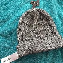 Nwt Fossil Gray Cable Knit Beanie Hat  Photo