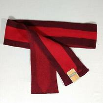 Nwt Fossil Hayden Scarf Red Cotton Wool Wrap Striped Knit New Photo