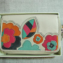 Nwt Fossil Hunter Leather Applique Zip Clutch Wallet Cell  Floral Photo