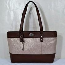 Nwt Fossil Hunter Leather Shopper Tote (Champagne) Photo