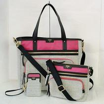 Nwt Fossil Ivy Black White Pink Tote Crossbody Carryall Wristlet 3 Pc Travel Set Photo
