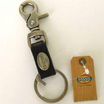 Nwt Fossil Key Chain Ring Logo Black Leather Mens Photo