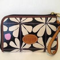 Nwt Fossil Key-Per Black Floral Wristlet Fits Cell Phone Photo
