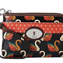 Nwt Fossil Key Per Clutch Wristlet Black Orange Swans Photo