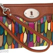 Nwt Fossil Key Per Clutch Wristlet Stained Glass Print Photo