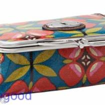 Nwt Fossil Key Per Framed Cosmetic Case With Kisslock & Mirror Floral Photo